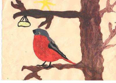 рисунки на тему зимующие птицы простой